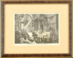 Cca 1870-1900 Morelli Gusztáv (1848-1909): Ferenc József Koronázása Budán. Fametszet, Papír. Jelzett A Metszeten. Üvegez - Gravados