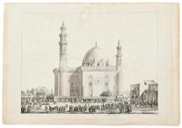 Coste, Pascal (1787-1879) Után Metszette Hibon, Auguste, (1780-1857): A Hasszán-szultán Mecset Kairó, Egyiptom, (Vue Ext - Gravados