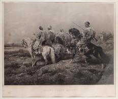 Adolf Schreyer (1828-1899) Festménye Után: Arab Előörs (Avant Poste Arabe), 1880. Photogravűr, Papír. Jelzett A Metszet  - Gravados