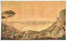 Cca 1800 Porto Látlóképe. Színezett Rézmetszet, Papír. Jelzés Nélkül. Körbevágva. 37,5x62 Cm / View Of Porto. Coloured E - Gravados