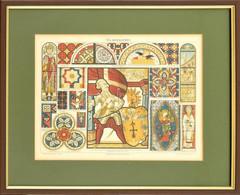 Glasmalerei, Színes Litográfia, üvegezett Fa Keretben, Paszpartuban, Meyers Konv. Lexikon, 22x28 Cm, Keret: 24x35 Cm - Gravados