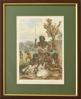 Eine Australierfamile Von Neu-Südwales, Színes Litográfia, üvegezett Fa Keretben, Paszpartuban, 22x14 Cm, Keret: 32x24 C - Gravados