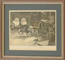 Auffahren Des Löschtrains (A Tűzoltószekér Rohanása), Fametszet, üvegezett Fa Keretben, Paszpartuban, 15x23 Cm, Keret: 2 - Gravados