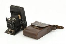 Ernemann Bob I összecsukható Fényképezőgép Ernar 6,3/80 Mm Objektívvel, Sérült Bőr Tokkal / Vintage Folding Camera - Fotoapparate