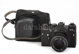 Zenith E Fényképezőgép, Helios 44-2 Objektívvel, Működő, Viseletes állapotban, Eredeti Bőr Tokjában, - Fotoapparate