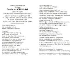 Gentiel Vandenberghe (1941-1993) - Devotion Images