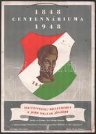 1848-1948 Centenáriumi Plakát Petőfi Sándor Arcképével, Darvas Jelzéssel (Darvas Árpád?), Lap Tetején Nemzetiszínű Szala - Unclassified