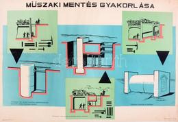 Cca 1950 Műszaki Mentés Gyakorlása, Propaganda Plakát, Bp., Belügyminisztérium Polgári Védelem Országos Parancsnoksága K - Unclassified