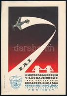 1962 II. Motoros Műrepülő Világbajnokság Budapest-Budaörs-Ferihegy Kisplakát, Kisebb Gyűrődéssel, 24×17 Cm - Unclassified