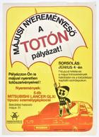 TOTÓ Pályázat Plakát, Hajtott, 42×29 Cm - Unclassified