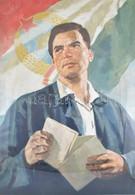Jelzés Nélkül (Gaál Mátyás 1909-1999?): Kommunista Propaganda Plakát Terve, 1950-55 Körül. Tempera, Papír, Kissé Sérült. - Unclassified