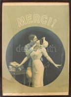 Merci! Az Eredeti Plakát Untánnyomása 1968-ból, Offset-nyomda, Papír, Lap Alja Foltos, üvegezett Fa Képkeretben, 89,5x65 - Unclassified