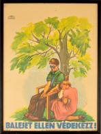 1939 Róna Emy (1904-1988): Baleset Ellen Védekezz. Art Deco Ofszet Plakát, Kis Gyűrődéssel, üvegezett Keretben, 63×46 Cm - Unclassified