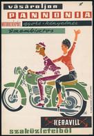 """""""Vásároljon Pannonia Motorkerékpárt, Gyors, Kényelmes, üzembiztos - Keravill"""" Villamosplakát, 23,5×16,5 Cm - Unclassified"""