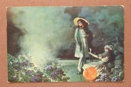 Antique Salon Lapina Postcard 1913 Blue Lights. Girls Fashion Bengal Lights. Artist Signed Louis TESSIER - Andere