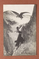 Tsarist Russia Postcard 1909s Feat Of Mother. Woman On Rock. Huge Eagle. BABY - Deadly Danger. - Andere