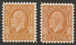 Canada 1932 Sc 198,198i Mi 165 Yt 164 MH* Ochre & Brownish Ochre Shades - Unused Stamps
