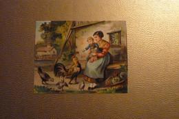 Grand Chromo Jeune Femme Et Enfant - A La Ferme - Coq - Poules - Poussins,.... Format 14 Cm X 11 Cm Environ. - Unclassified