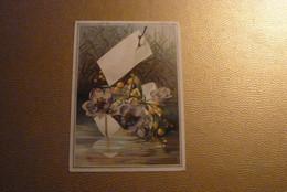 Grand Chromo Barque En Papier Remplie De Fleurs Mauves/jaunes Sur Une Rivière Bordée De Roseaux - Env. 12 Cm X 16,5 Cm. - Unclassified