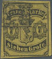 Bremen - Marken Und Briefe: 1860, Staatswappen 7 Gr. Schwarz Auf (mittel)rötlichgelb, Stempel KS 106 - Bremen