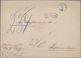 """Bremen - Besonderheiten: 1868/71, 2 Großformatige Auslagenbriefe, Blauer K1 """"BREMEN A I"""" BZW: """"BREME - Bremen"""