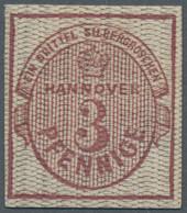Hannover - Marken Und Briefe: 1856/57, 3 Pfg. Dunkellilakarmin, Essay Mit Netzmuster B (Lechte Nr. 1 - Hanovre