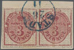 Hannover - Marken Und Briefe: 1856/57, 3 Pfg. Helllilakarmin, Schwarz Genetzt, Waagerechtes Paar, Br - Hanovre