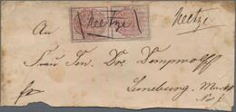 Hannover - Marken Und Briefe: 1856/57, 3 Pfg. Karmin/schwarz Genetzt, Senkrechtes Paar, Obere Marke - Hanovre