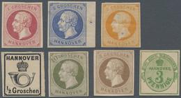 Hannover - Marken Und Briefe: 1859/63, Georg V. Komplett Sowie Posthorn ½ Gr., Rosa Gummi Bzw. 3 Pfg - Hanovre