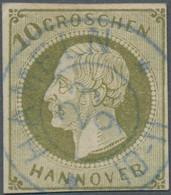 Hannover - Marken Und Briefe: 1861, 10 Gr. Dunkelgrünlicholiv, Farbfrisch, Allseits Vollrandig, Zent - Hanovre