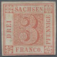 Sachsen - Marken Und Briefe: 1850, 3 Pfennige Lebhaftrot, Farbfrisches Exemplar Von Platte III, Pos. - Sachsen