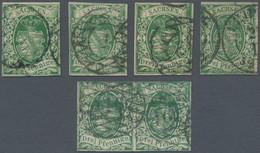 Sachsen - Marken Und Briefe: 1851, Wappen, 3 Pfg., I. Auflage , 4 Einzelstücke Sowie Waagerechtes Pa - Sachsen