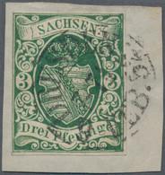 Sachsen - Marken Und Briefe: 1851, Wappenzeichnung 3 Pf Dunkelgrün, Entwertet Mit Doppelkreisstempel - Sachsen