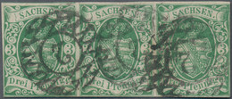 Sachsen - Marken Und Briefe: 1851, Wappenzeichnung 3 Pf Dunkelgrün Als Waagerechter Dreierstreifen, - Sachsen