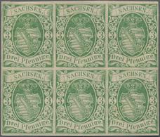 Sachsen - Marken Und Briefe: 1851, Wappenzeichnung 3 Pfg. Smaragdgrün, Ungebraucht Als Sechserblock, - Sachsen
