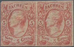 Sachsen - Marken Und Briefe: 1856, 5 Ngr. Bräunlichrot Im Waagerechten Paar, Links Minimal Berührt, - Sachsen