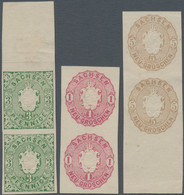 Sachsen - Marken Und Briefe: 1863, 3 Pfg Grün, 1 Ngr Hellrotlila Und 5 Ngr Orangegelb, Je Probedruck - Sachsen