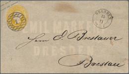 Sachsen - Ganzsachen: 1860, 3 Ngr. Johann (kleine Tönung Oben) Als Zierbrief Der Firma Emil Markert - Sachsen