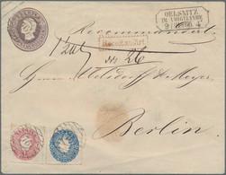 Sachsen - Ganzsachen: 1866, 5 Ngr. Braunviolett Johann Großformat Mit Zufrankatur Wappen 1 Ngr. Und - Sachsen