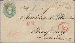 """Sachsen - Ganzsachen: 1858, 10 Ngr. Grün Johann Mit Nr. """"45"""" Und Beigesetztem Ra3 """"LÖBAU 8 5 65"""" Als - Sachsen"""