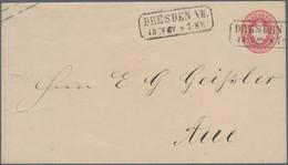 """Sachsen - Ganzsachen: 1867, 1 Ngr. Wappen Rückseitig Mit Klarem Briefsammlungs-Ra2 """"STADT-NEUDORF 15 - Sachsen"""