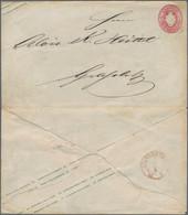 """Sachsen - Ganzsachen: 1865, 1 Ngr. Wappen Mit Entwertung Durch Roten DKr. """"KLINGENTHAL 9 X 65"""" Und K - Sachsen"""