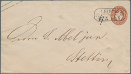 """Sachsen - Ganzsachen: 1864, 3 Ngr. Wappen Mit Dem äußerst Seltenem Ra3 """"LEIPZIG BERLINER BAHNHOF 17 - Sachsen"""