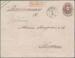 """Sachsen - Ganzsachen: 1867, 5 Ngr. Wappen Im Großformat Mit Klarer Nr. """"196"""" Und Beigesetztem Ebenso - Sachsen"""