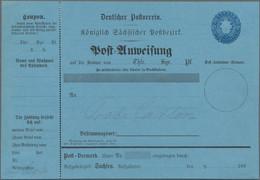 Sachsen - Ganzsachen: 1866, Postanweisungs-Essais Wappen 5 Ngr. Blau Auf Blauem Karton Und 5 Ngr. Ro - Sachsen