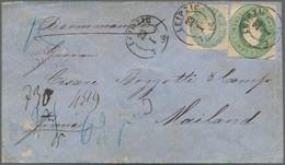 Sachsen - Ganzsachenausschnitte: 1859-1861, Ganzsachen-Ausschnitt Johann 10 NGr Grün, Viereckig Gesc - Sachsen