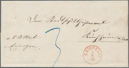 Württemberg - Stempel: ENINGEN: Sehr Seltener Roter Einkreiser Auf Doppelt Gelaufenem Brief 1869 Nac - Wurtemberg