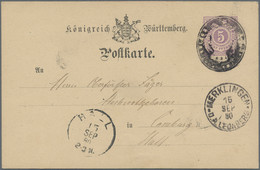 Württemberg - Stempel: 1876, Postkarte, 5 Pf Violett (Wertstempel Rechteckig, Ziffer Im Kreis Auf Ge - Wurtemberg