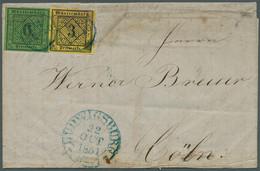 Württemberg - Stempel: 1851, 3 Kreuzer Schwarz/gelb Type I Und 6 Kreuzer Schwarz/gelbgrün Sauber Und - Wurtemberg