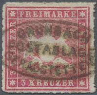 """Württemberg - Postablagen: 1865, 3 Kr. Rosa, Exakt Zentriert Bzw. Klarer Postablagestempel """"GERADSTE - Wurtemberg"""